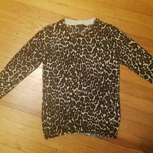 J Crew Leopard Tippi Sweater SZ MEDIUM M